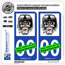 2 Autocollants plaque immatriculation Auto Motard - Zombie Casqué et Clopé