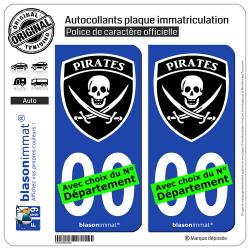 2 Autocollants plaque immatriculation Auto : Pirates - Blason