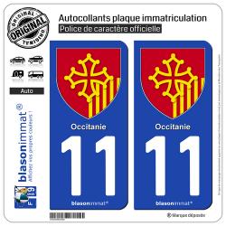 2 Autocollants plaque immatriculation Auto 11 Occitanie - Armoiries