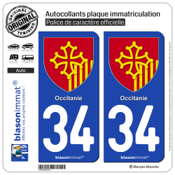 2 Autocollants plaque immatriculation Auto 34 Occitanie - Armoiries