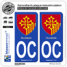 2 Autocollants plaque immatriculation Auto OC Occitanie - Armoiries