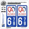2 Autocollants plaque immatriculation Auto 678 Alsace - Collectivité européenne