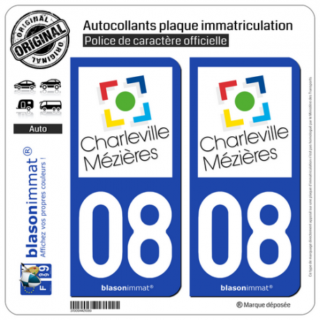 2 Autocollants plaque immatriculation Auto 08 Charleville-Mézières - Ville
