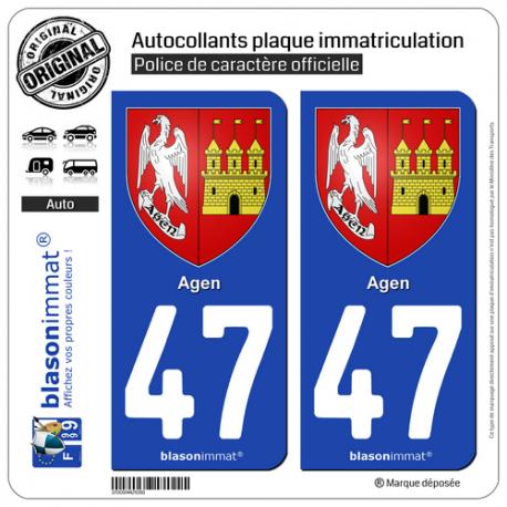 2 Autocollants plaque immatriculation Auto 47 Agen - Armoiries