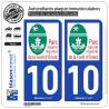 2 Autocollants plaque immatriculation Auto 10 Forêt d'Orient - Parc Naturel Régional