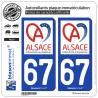 2 Autocollants plaque immatriculation Auto 67 Alsace - Collectivité européenne
