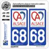 2 Autocollants plaque immatriculation Auto 68 Alsace - Collectivité européenne