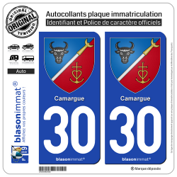 2 Autocollants plaque immatriculation Auto 30 Camargue - Armoiries