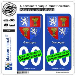 2 Autocollants plaque immatriculation Auto Gascogne - Armoiries