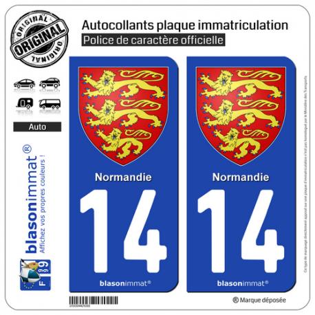 2 Autocollants plaque immatriculation Auto 14 Normandie - Les 3 Léopards