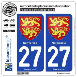 2 Autocollants plaque immatriculation Auto 27 Normandie - Armoiries
