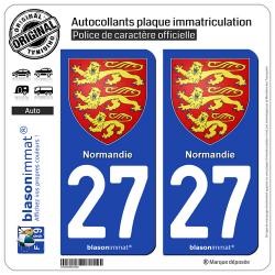 2 Autocollants plaque immatriculation Auto 27 Normandie - Les 3 Léopards