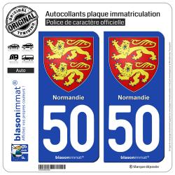 2 Autocollants plaque immatriculation Auto 50 Normandie - Armoiries