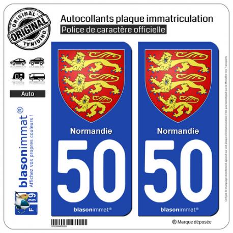2 Autocollants plaque immatriculation Auto 50 Normandie - Les 3 Léopards