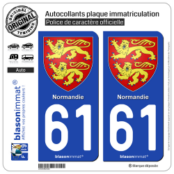 2 Autocollants plaque immatriculation Auto 61 Normandie - Armoiries
