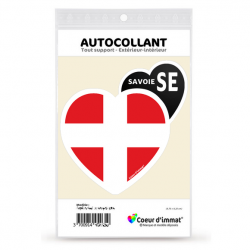Autocollant Coeur d'immatriculation Savoie SE - Blason (Noir)