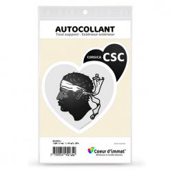 Stickers autocollant Coeur J'aime Corsica CSC - Blason (noir)