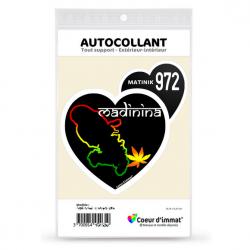 Stickers autocollant Coeur J'aime Martinique 972 - Madinina (noir)