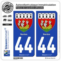 2 Autocollants plaque immatriculation Auto 44 Nantes - Armoiries