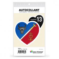 Stickers autocollant Coeur d'immat Camargue - Blason (Noir)