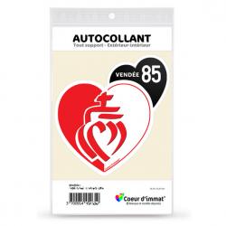 Stickers autocollant Coeur J'aime Vendée 85 - Drapée
