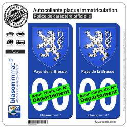 2 Autocollants plaque immatriculation Auto Pays de la Bresse - Armoiries