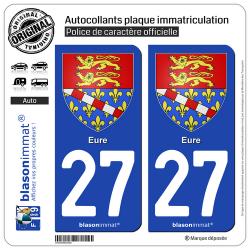 2 Autocollants plaque immatriculation Auto 27 Eure - Armoiries