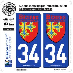 2 Autocollants plaque immatriculation Auto 34 Béziers - Agglo