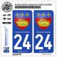 2 Autocollants plaque immatriculation Auto 24 Sarlat-la-Canéda - Armoiries