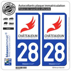 2 Autocollants plaque immatriculation Auto 28 Châteaudun - Ville