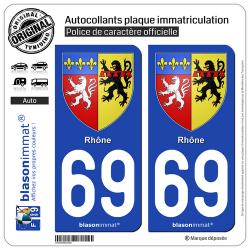 2 Autocollants plaque immatriculation Auto 69 Rhône - Armoiries