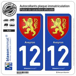 2 Autocollants plaque immatriculation Auto 12 Aveyron - Armoiries
