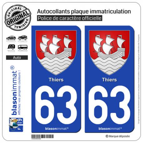 2 Autocollants plaque immatriculation Auto 63 Thiers - Armoiries