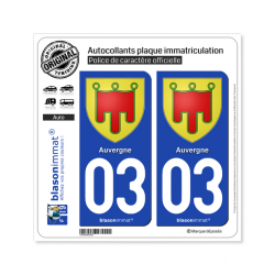 2 Autocollants plaque immatriculation Auto 03 Auvergne - Armoiries
