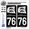 2 Autocollants plaque immatriculation Auto 76 Normandie - LogoType Black