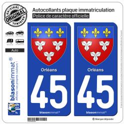 2 Autocollants plaque immatriculation Auto 45 Orléans - Armoiries
