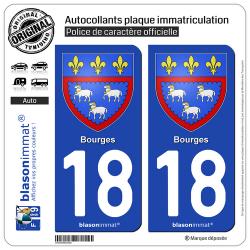 2 Autocollants plaque immatriculation Auto 18 Bourges - Armoiries