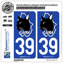 2 Autocollants plaque immatriculation Auto 39 Jura - Authentique