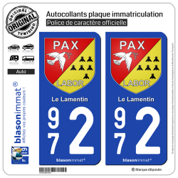 2 Autocollants plaque immatriculation Auto 972 Le Lamentin - Armoiries