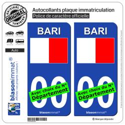 2 Autocollants plaque immatriculation Auto Bari Ville - Drapeau