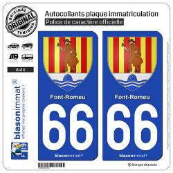 2 Autocollants plaque immatriculation Auto 66 Font-Romeu - Armoiries