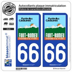 2 Autocollants plaque immatriculation Auto 66 Font-Romeu - Station