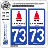 2 Autocollants plaque immatriculation Auto 73 La Plagne - Station
