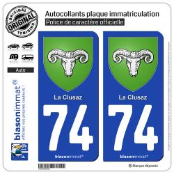 2 Autocollants plaque immatriculation Auto 74 La Clusaz - Armoiries