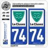2 Autocollants plaque immatriculation Auto 74 La Clusaz - Commune