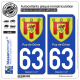 2 Autocollants plaque immatriculation Auto 63 Puy-de-Dôme - Armoiries