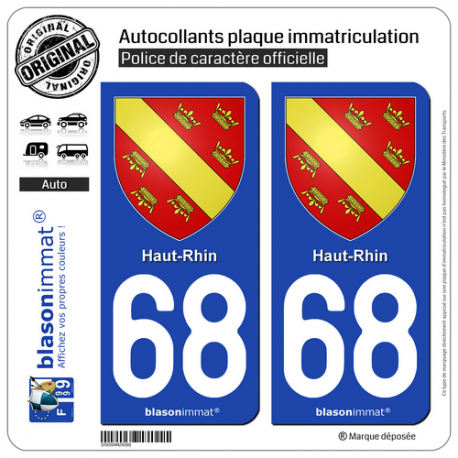 2 Autocollants plaque immatriculation Auto 68 Haut-Rhin - Armoiries