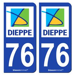 Jeu de 2 Stickers pour plaques d'immatriculation auto - Modèle : 76 Dieppe - Agglo