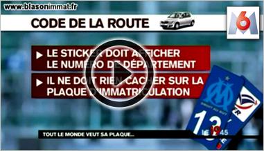Reportage du journal télévisé de M6 - Autocollant plaque immatriculation